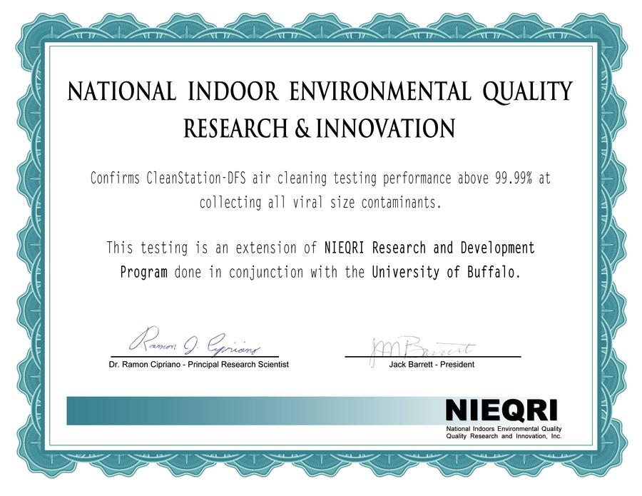 美国室内环境质量研究机构确认DFS技术可以去除 99.99%的颗粒物