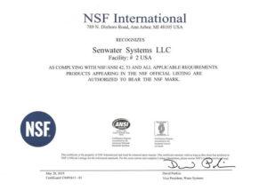 美国森乐#2工厂通过NSF认证