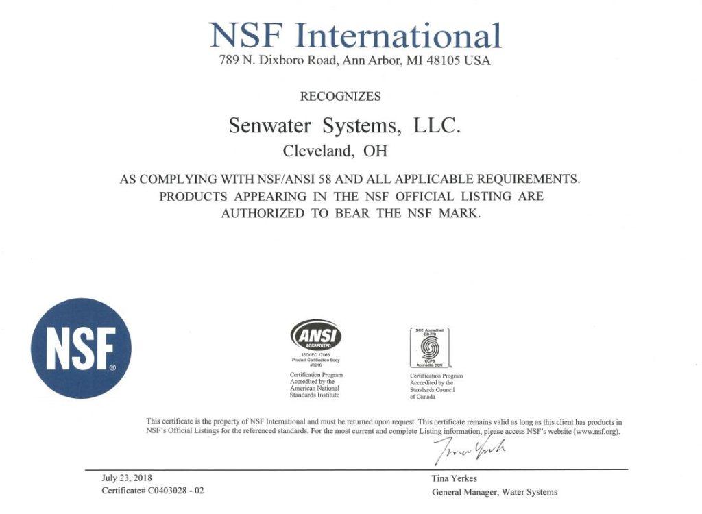 美国森乐是NSF认证的净水专业企业