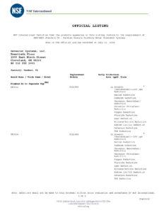 TRO系列通过NSF58纯水机专项认证